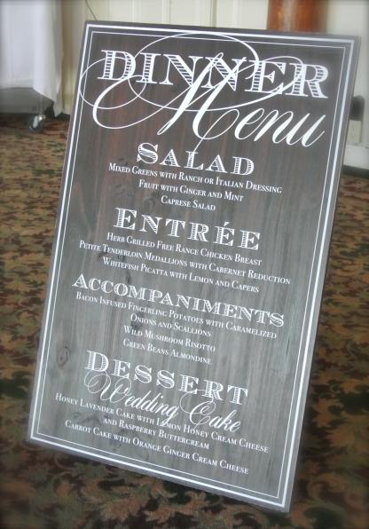 dinner menu sign