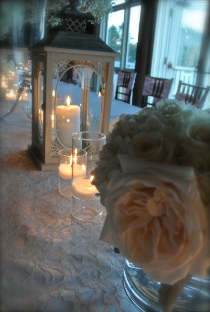 candles, floral, and lace