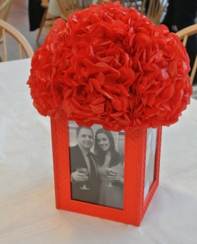 centerpieces - simple frames with tissue flowers.