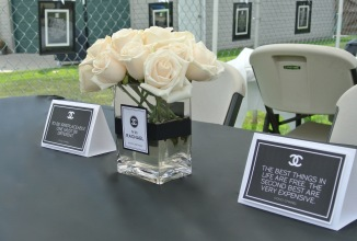 Coco Chanel quotes on paper tents to decorate the tables