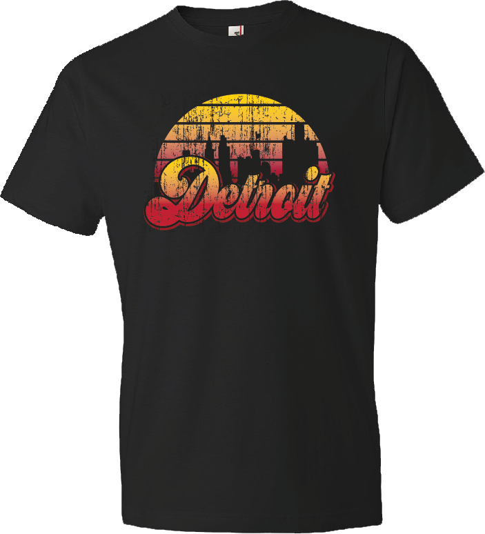 detroit skyline on shirt